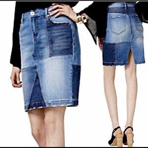 INC Patchwork Denim Skirt